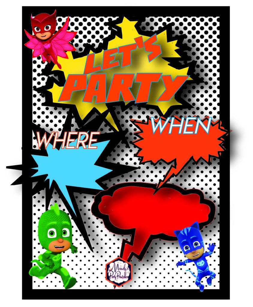 Party Invitation from Free PJ Masks Birthday Party Printables via ...