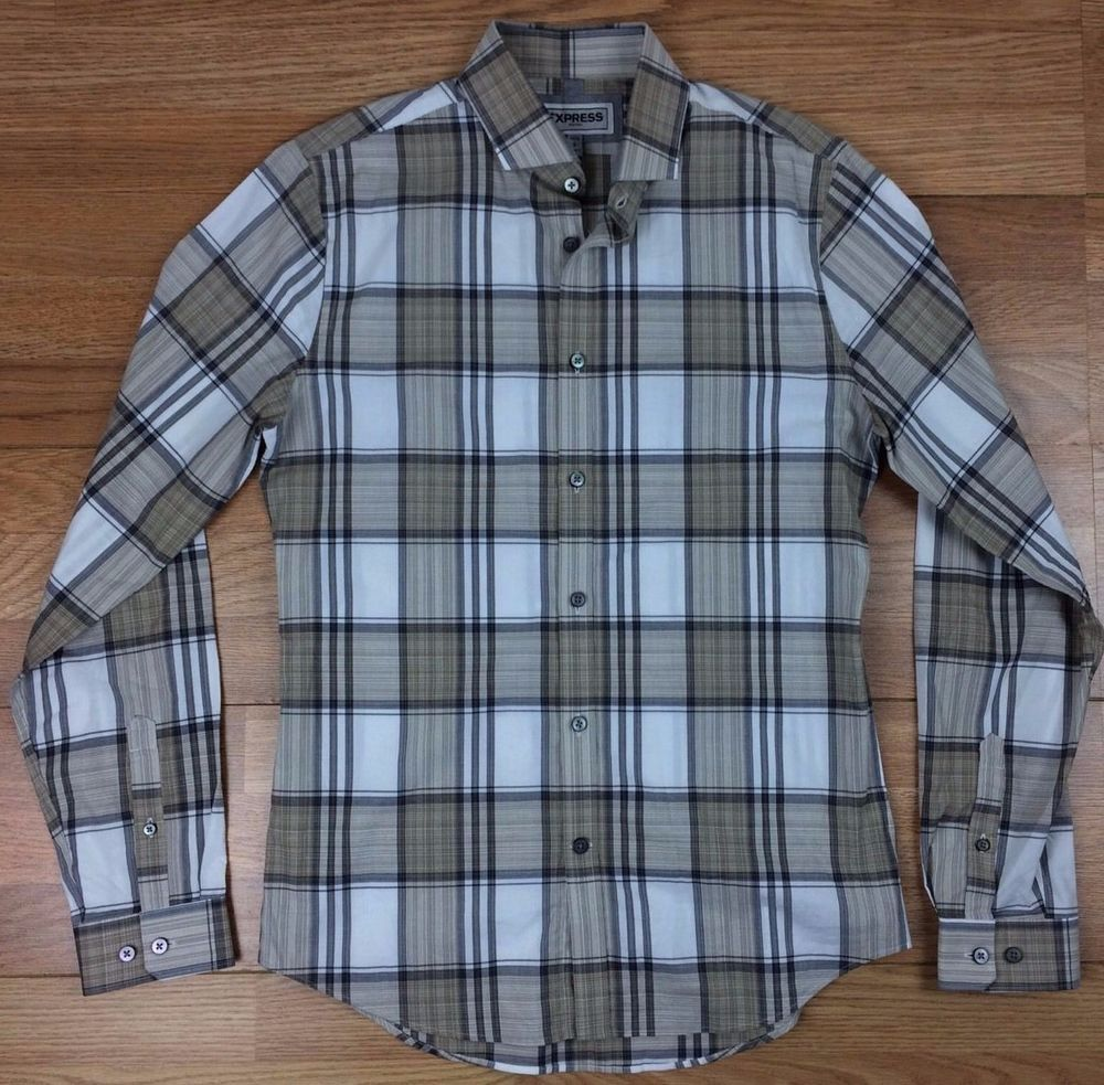 Express Mens Dress Shirt Size Small Button Down Plaid Fitted Cotton