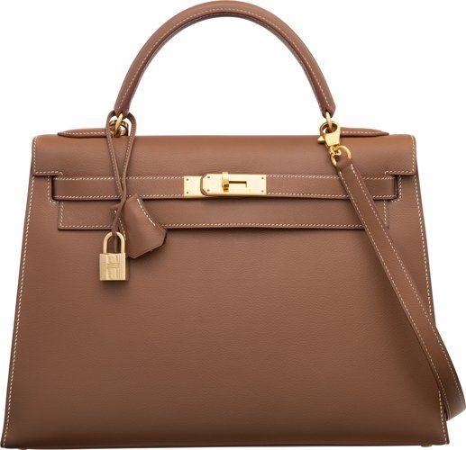 1a432bb86f2e Hermes 32cm Noisette Evercalf Leather Sellier Kelly Bag ...