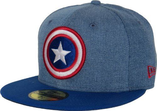 89cec078 New Era 59Fifty Denim Hero Captain America 5950 Cap Price : £27.95 http:/