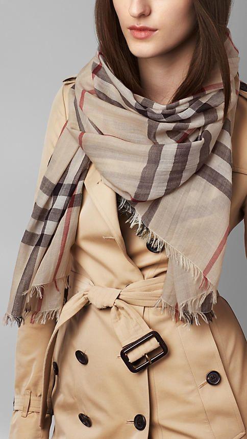 Check Wool Silk Scarf  5769795c4d