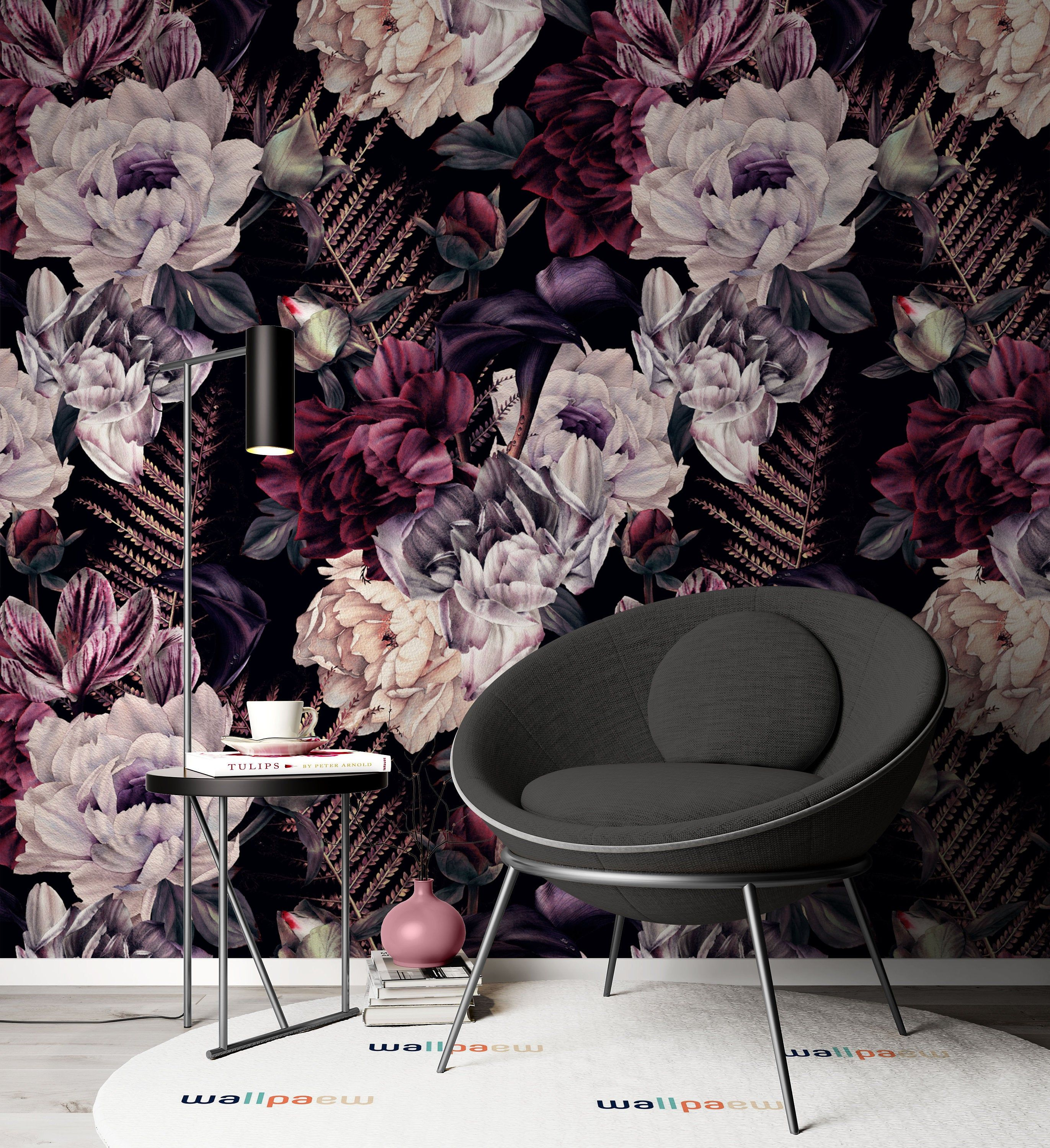 Colorful Roses And Leaves Dark Background Flowers Modern Etsy In 2020 Modern Floral Wallpaper Floral Wallpaper Modern Floral
