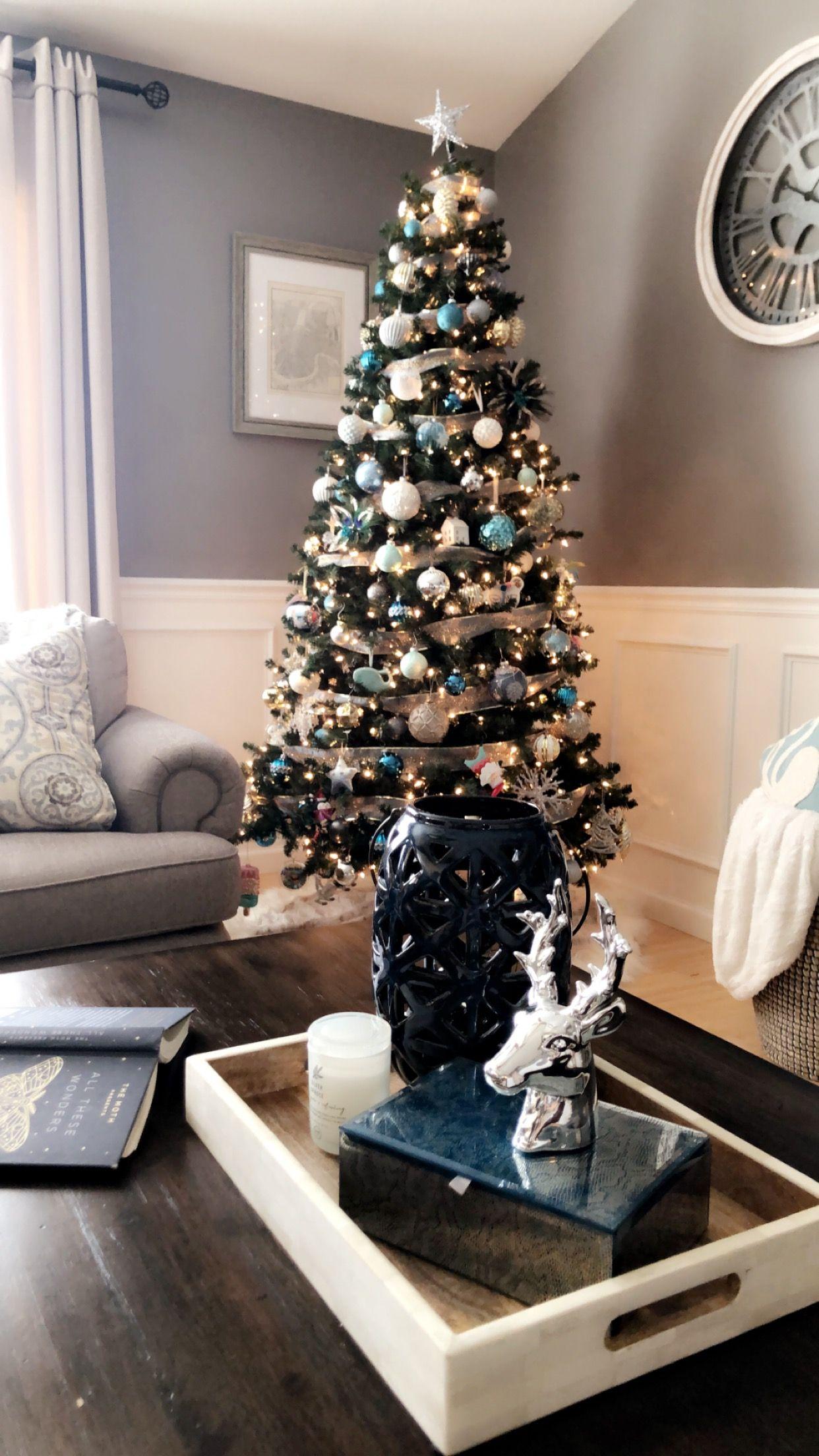 Christmas Silver Blue Living Room Blue Living Room Silver Christmas Decorations Christmas Decorations Living Room #silver #and #blue #living #room