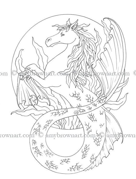 COLORING PAGE Hippogriff By ColorYourFantasy On Etsy