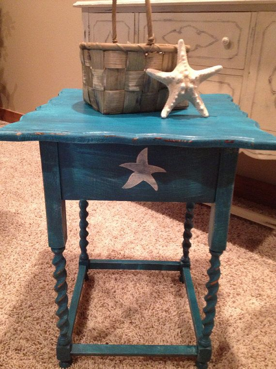 Beautiful Antique Side Corner End Table Hand Painted Dark Turquoise With  Starfish Nautical Cottage Chic Shabby