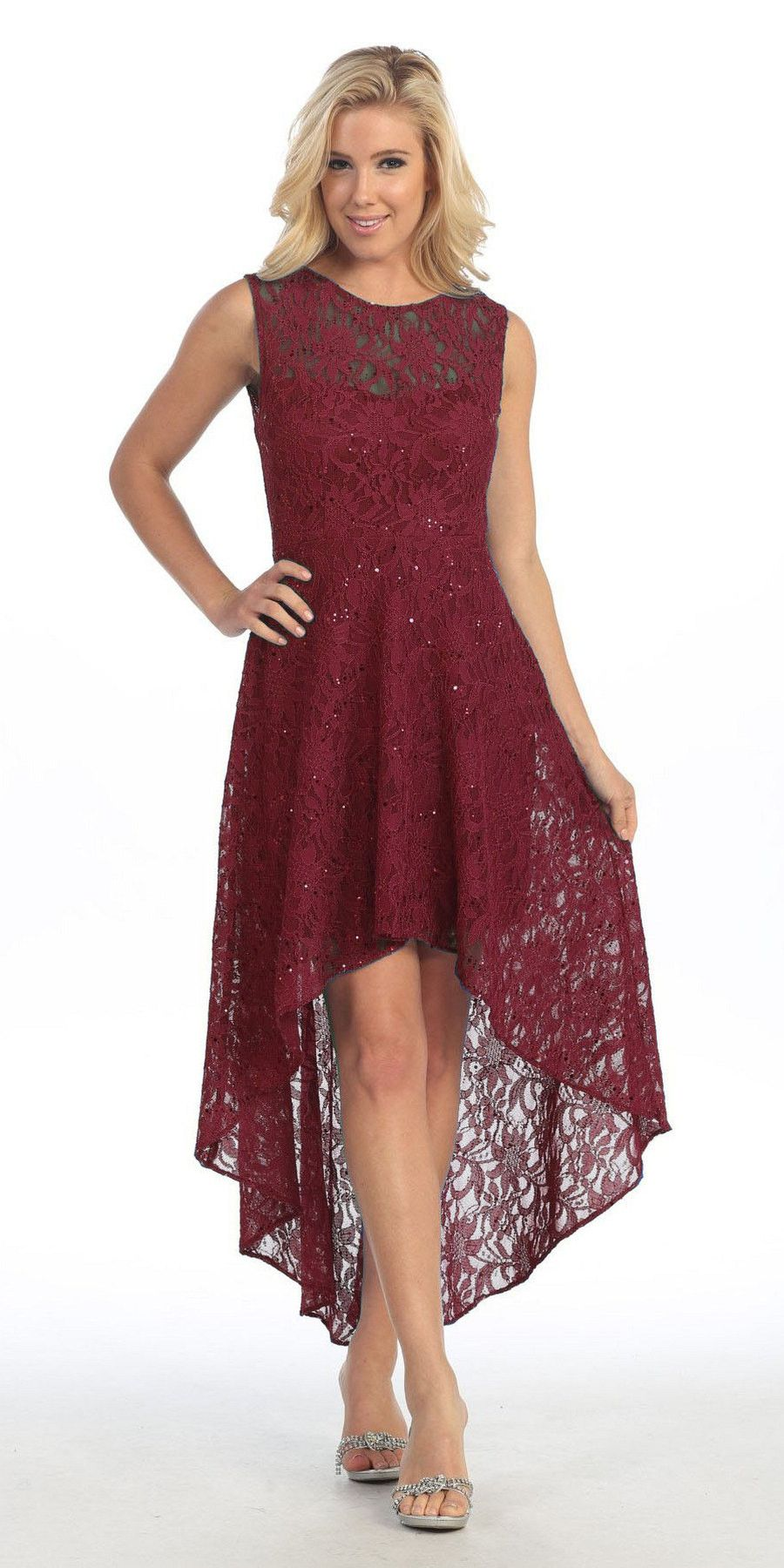26badf78e8dc Enjoy the evening in this high low burgundy lace semi formal dress. This  high low
