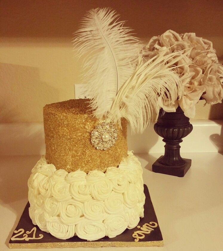 Great Gatsby Rosette Glitter Cake Www.facebook.com/dejasfancycakes ...