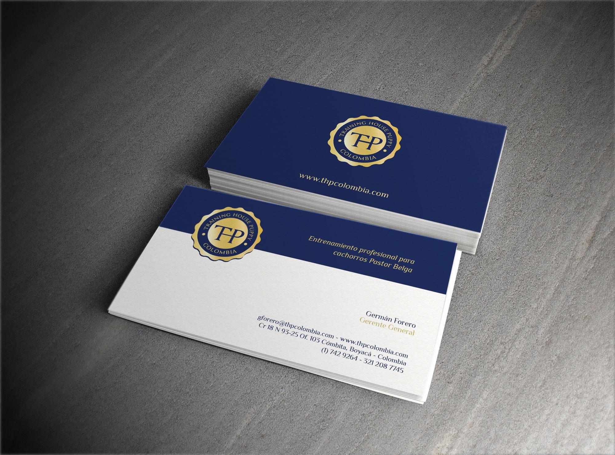diseño logo y tarjetas de presentación thp training house puppy