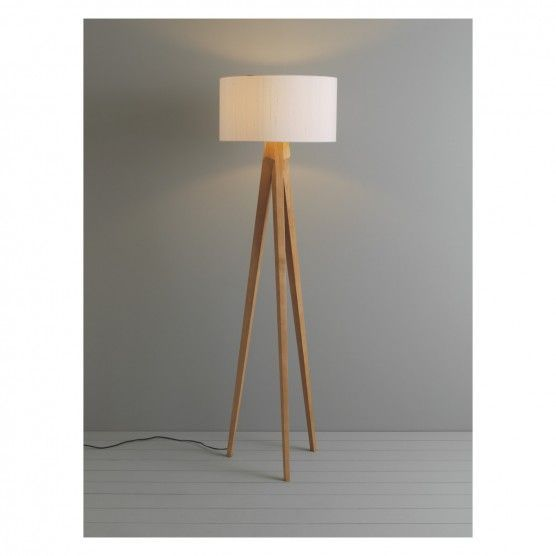Tripod Ash Wooden Floor Lamp With White Shade Now At Habitat Uk