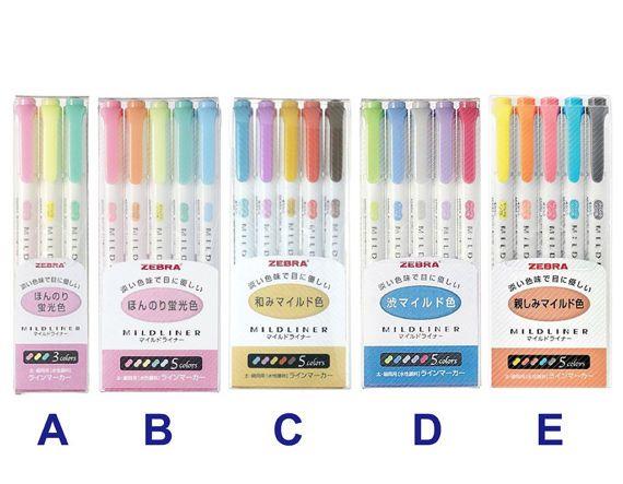 Zebra WKT7 Mildliner Double-Sided Highlighter Drawing Marker Pen 5 Colors NC