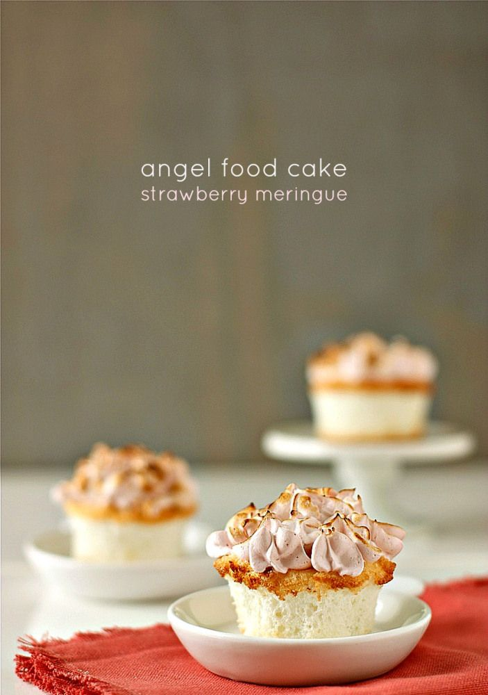 Angel Food Cupcakes with Strawberry Meringue