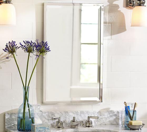 Kensington Recessed Medicine Cabinet | Pottery Barn I like this one! Comes  in polished nickel