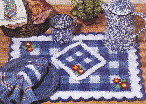 Crochet Pattern Gingham Kitchen Set Towel Topper Place Mat Pot