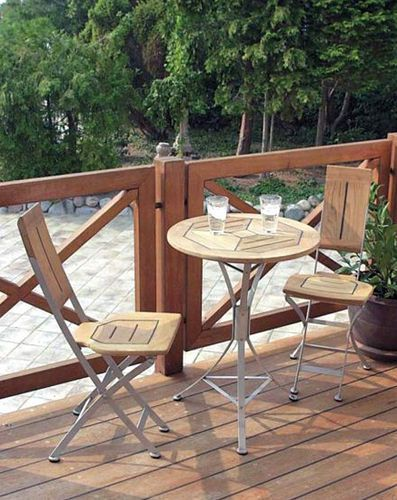 Cappuccino round outdoor table + 3 Folding Cappuccino chairs--all in solid Teak