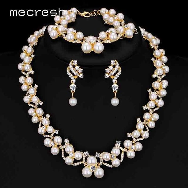 Simulated Pearl Bridal Jewelry Sets Wedding Necklace Earrings Bracelets For Women