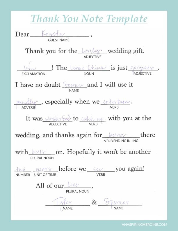 Writing Personalized Wedding Thank You Notes An Aspiring Inside Template For Wedding T Thank You Note Template Thank You Card Wording Writing Thank You Cards
