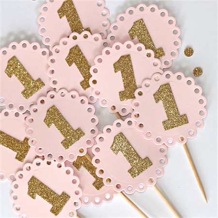 1st Birthday Cupcake Toppers baby pink and gold glitter Set of 12