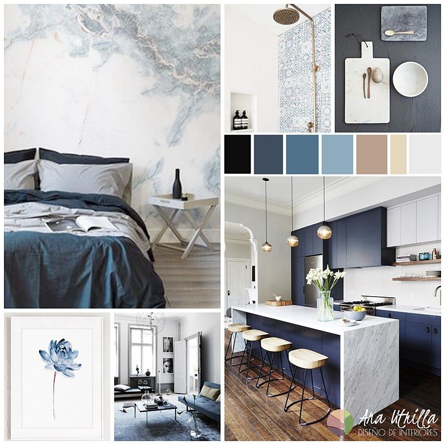 Moodboard para combinar el color azul en tu decoraci n de for Decoracion de interiores online