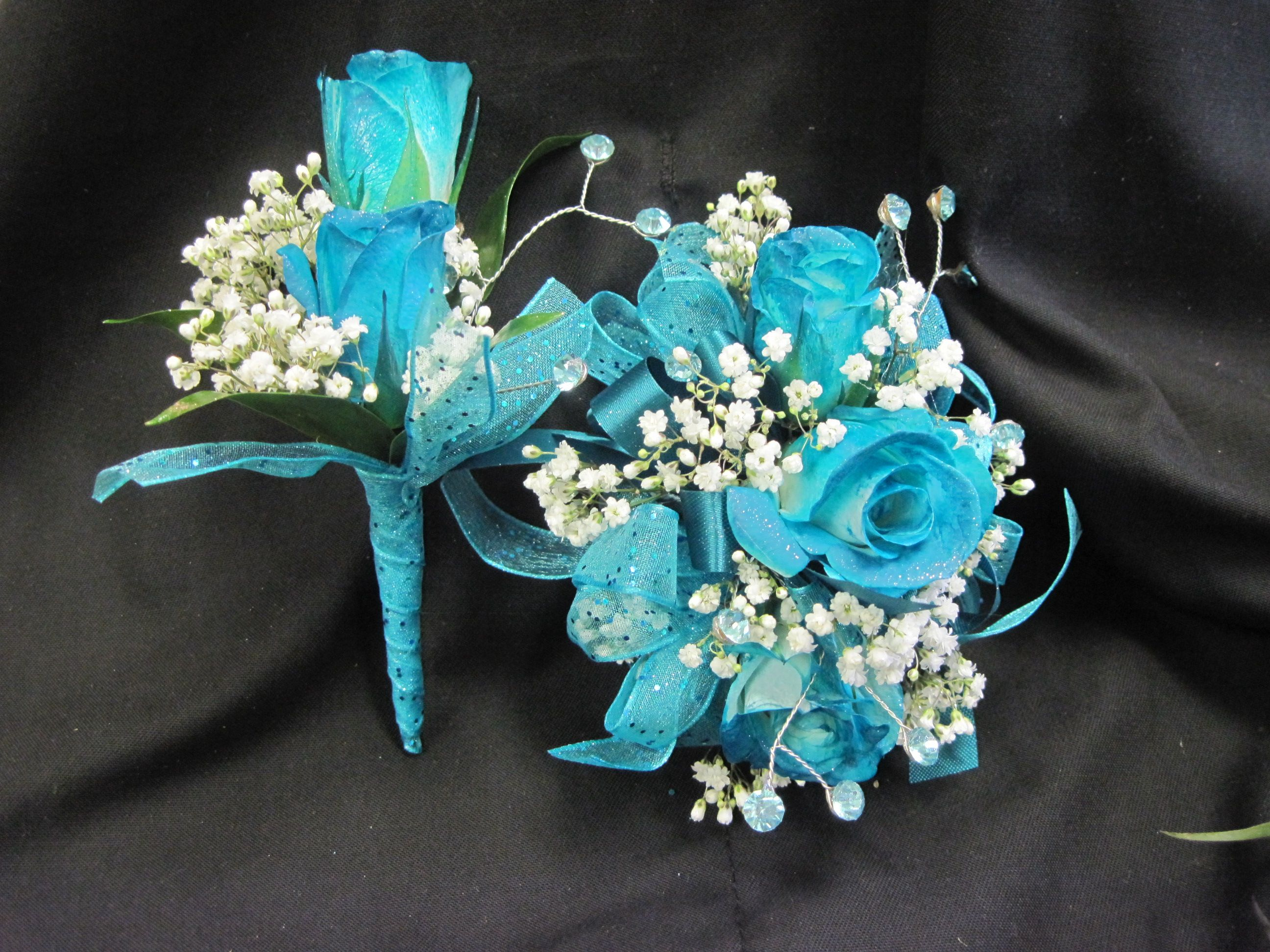 Keepsake artificial flower corsage and Boutonniere set-Pick Ribbon color