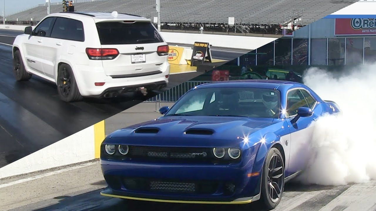 See Who Wins In A Drag Race Between The Dodge Challenger Srt Hellcat Redeye Jeep Grand Cherokee Track Jeep Grand Dodge Challenger Dodge Challenger Srt Hellcat