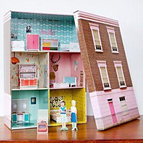 Schuhkarton Basteln Kinder Haus Puppen Drei Etagen Kartonhaus Schuhkarton Karton Puppenhaus