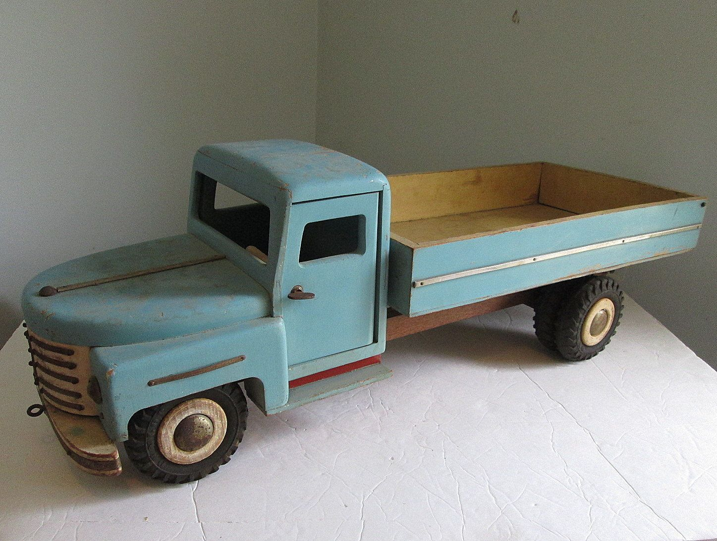 "Unique 1950's Handmade Wooden Toy Truck Huge 27"" Professional Look Folk Art Automotive Car Creative Playthings by suburbantreasure on Etsy"