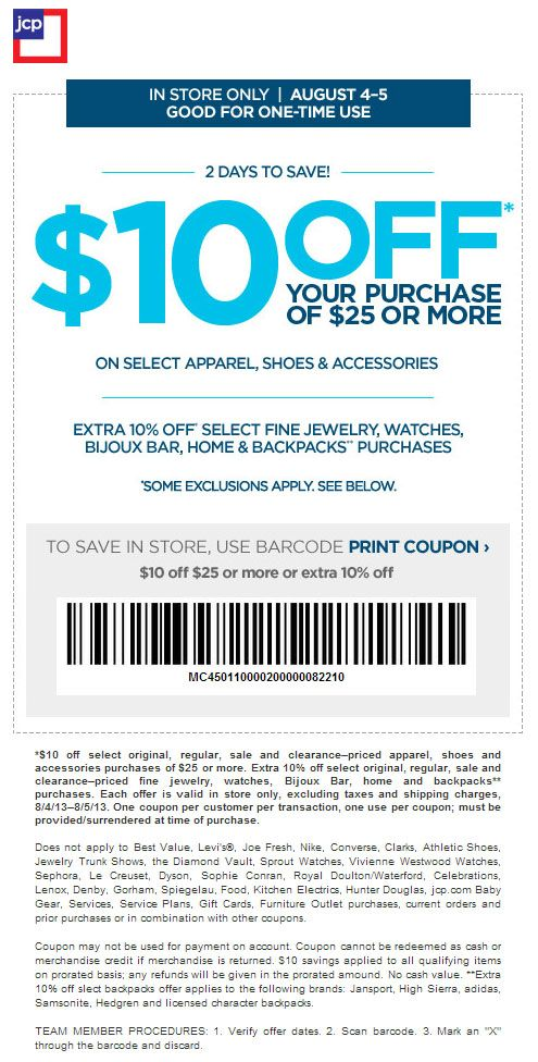 graphic relating to Converse Coupons Printable named JCPenney: $10 off $25 Printable Coupon Items I Appreciate