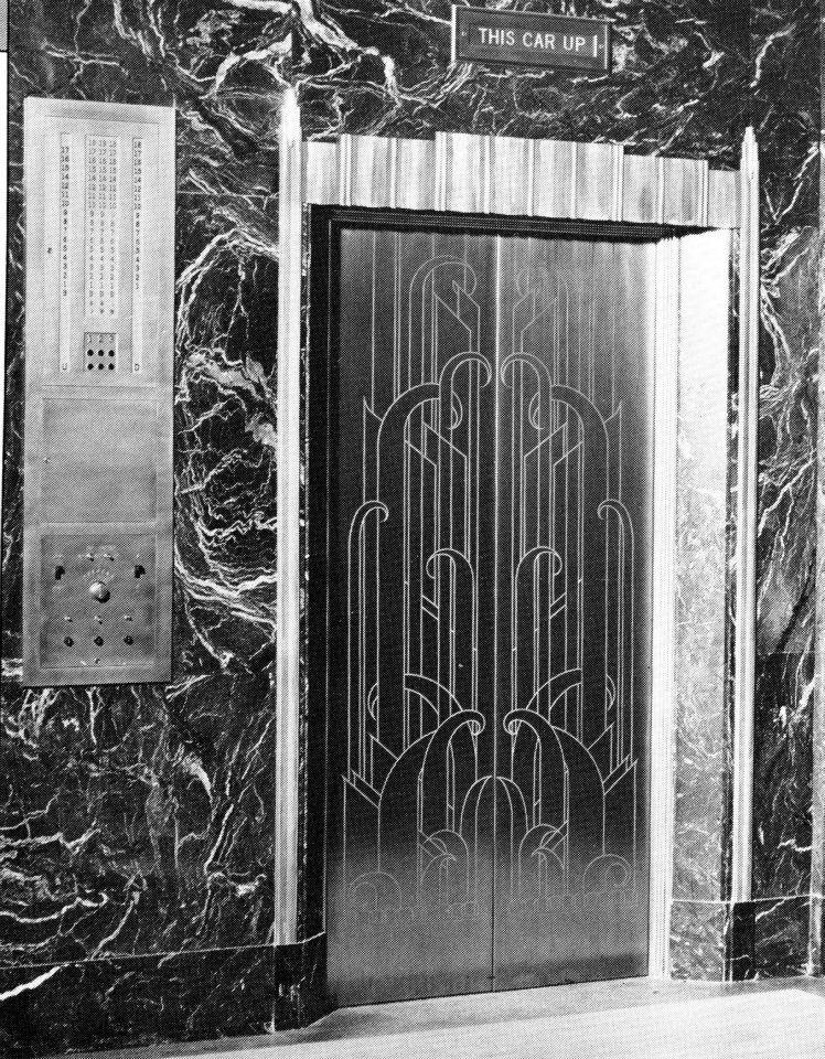 Art Deco Elevator   Heritage Tower, Battle Creek, MI   Inside Security  National Or Michigan National Bank Downtown?