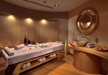 Massage Room!! This would be amazing! I want to work out of this.. hopefully a huge jetted tub and shower are just out of view...great for mud baths and showering after a sugar scrub :)