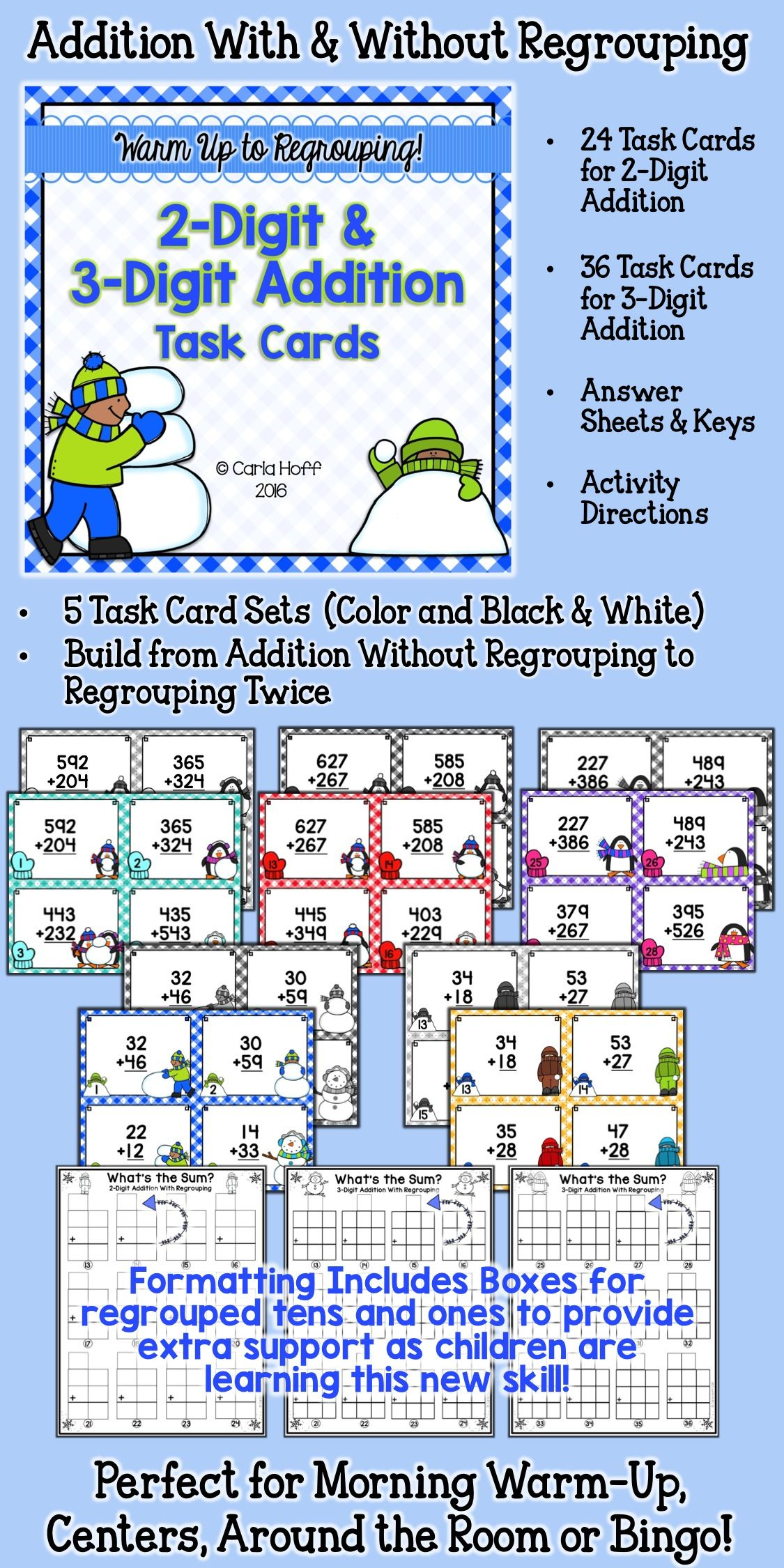 Winter 2Digit and 3Digit Addition Task Cards With and