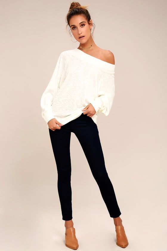 b8583a6c1ce4a Free People Palisades White Off-the-Shoulder Sweater Top 1