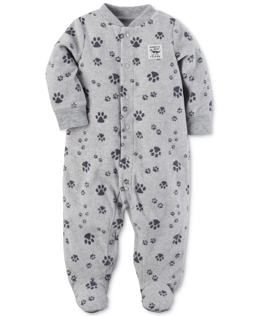 dec7644a7 Carter s 1-Pc. Paw-Print Footed Fleece Coverall