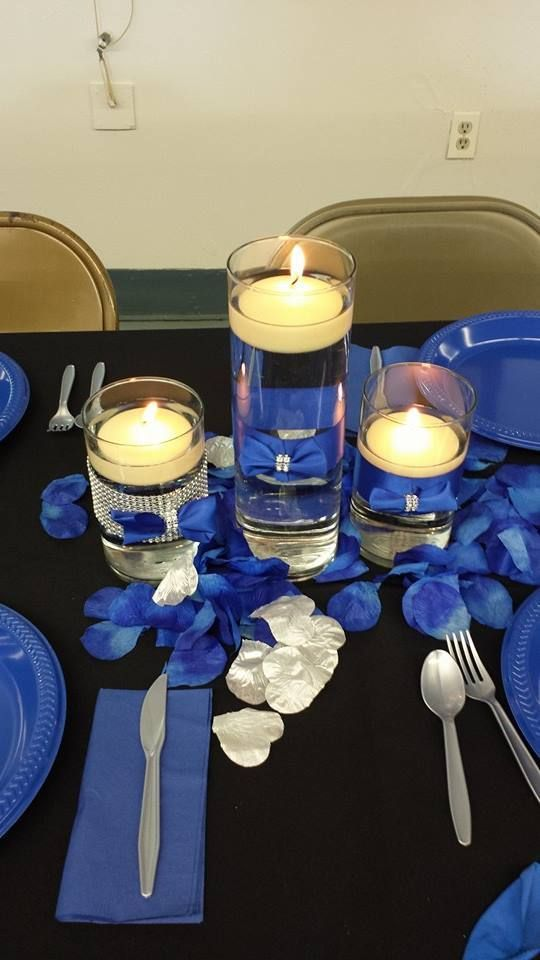 25th wedding anniversary decoration ideas ROYAL BLUE | From the 25th anniversary party. Royal blue black and silver. Candles . & 25th wedding anniversary decoration ideas ROYAL BLUE | From the 25th ...