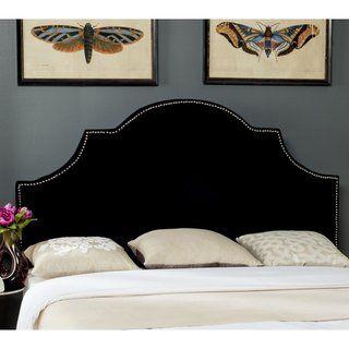 Best Safavieh Hallmar Black Velvet Upholstered Arched Headboard 400 x 300