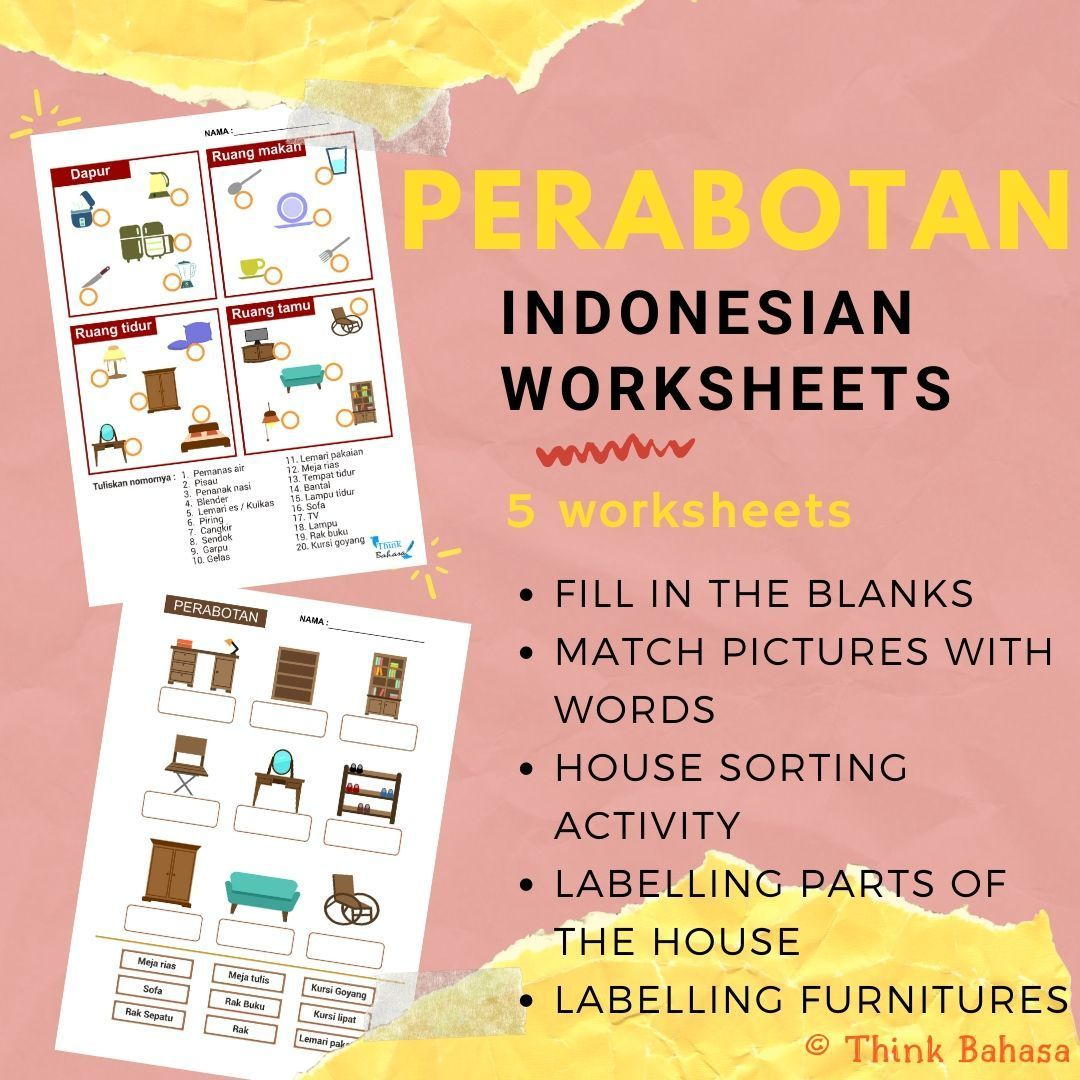 Furnitures In Indonesian Worksheets Amp Answer Keys