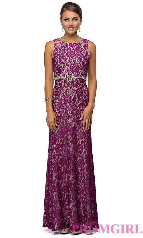 Long Sleeveless Lace-Embellished Prom Dress - PromGirl