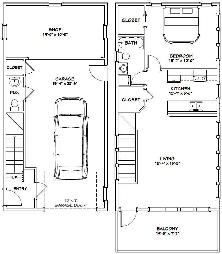 Garage Apartment Plans 24 X 30: 20x40 House -- #20X40H7D -- 1,053 Sq Ft