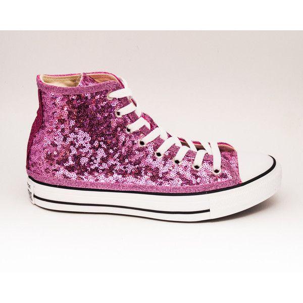 e959f2e34c32 Sequin Starlight Blush Lite Pink Converse All Star Hi Top Canvas... ( 135
