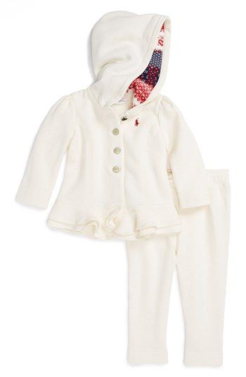 Ralph Lauren Hooded Jacket   Sweatpants (Baby Girls) available at  Nordstrom 4726dc0fbe1