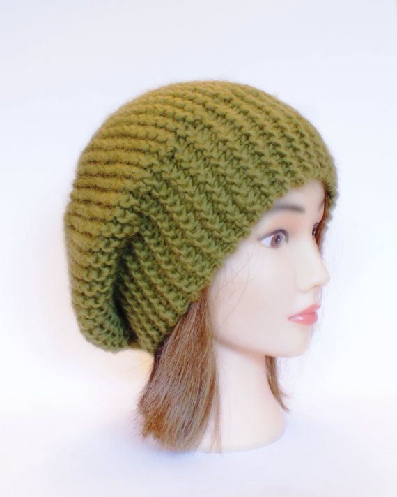 71c00f3814391 Beret style slouch hat olive green slouchy beanies by Johannahats ...