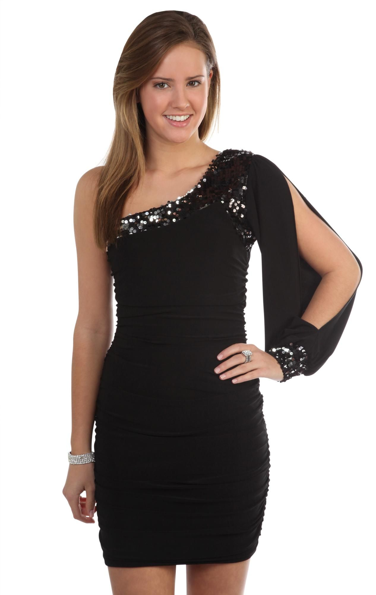 one shoulder tight homecoming dress with long sleeves and studs ...