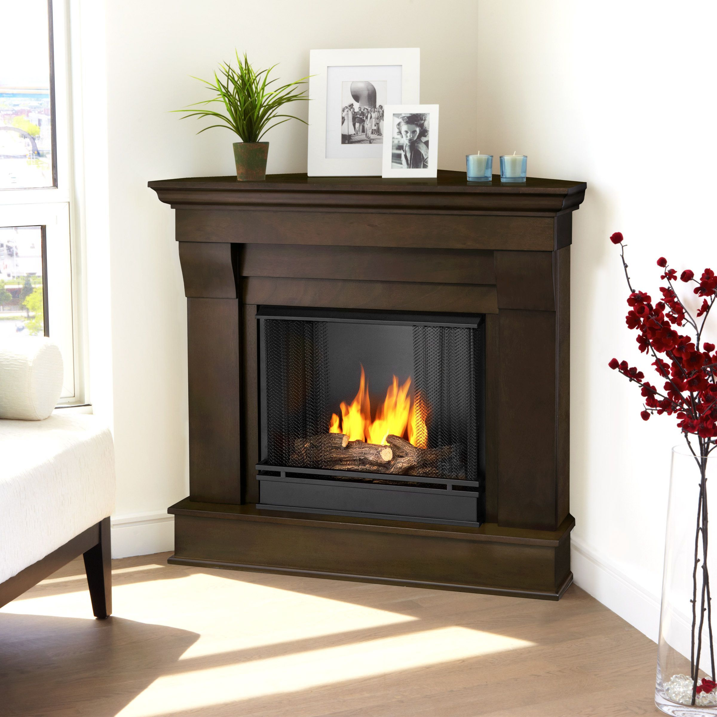 real flame chateau corner dark walnut gel fuel 40 94 inch fireplace