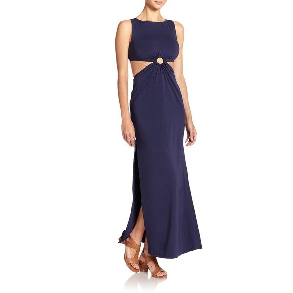 Michael Kors Collection Open-Back Draped Jersey Dress ($555) ❤ liked on Polyvore featuring dresses, gowns, apparel & accessories, indigo, open back dress, blue evening dresses, draped jersey dress, blue evening gown and blue dress