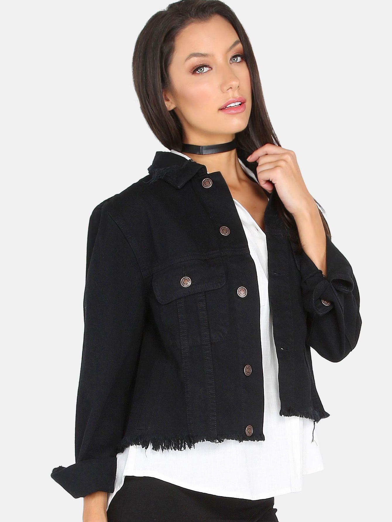 Shop Sequins Lips Back Distressed Denim Jacket Black Online Shein Offers Sequins Lips Bac Distressed Denim Jacket Black Coats Jackets Women Streetwear Jackets [ 1785 x 1340 Pixel ]