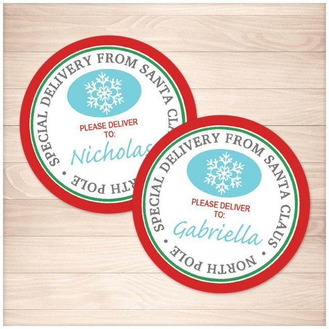 Special delivery from santa claus round personalized gift tags special delivery from santa claus round personalized gift tags or stickers printable negle Images