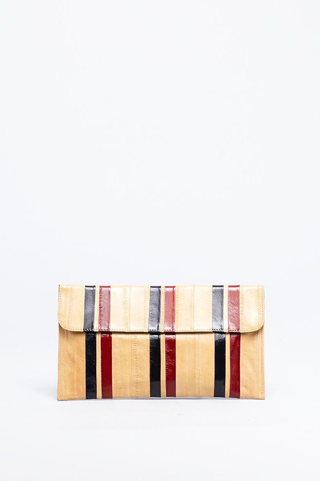 Dries Van Noten Eel Striped Wallet (Camel)