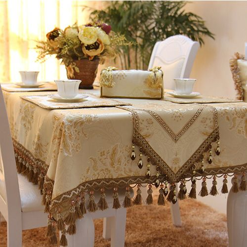 Amazing Imitated Silk Fabric Golden Jacquard Tablecloth Yellow Lace Luxury Christmas Table Cloth Cus Table Cloth Christmas Table Cloth Holiday Table Runner
