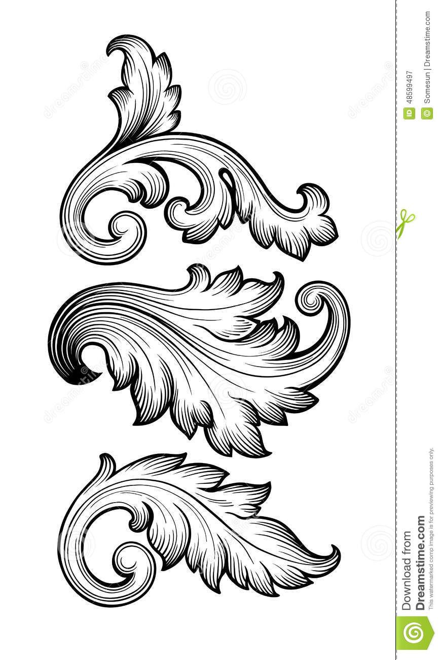 Vintage Baroque Floral Scroll Set Ornament Vector Download From Over 54 Million High Quality Stock Photos I Ornament Drawing Metal Engraving Filigree Tattoo