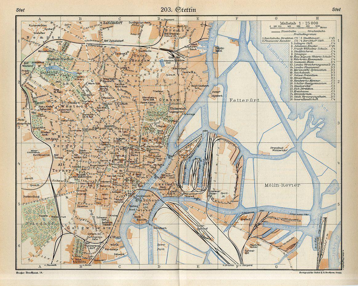 1920s POLAND SZCZECIN former STETTIN GERMANY CITY PLAN Antique Map