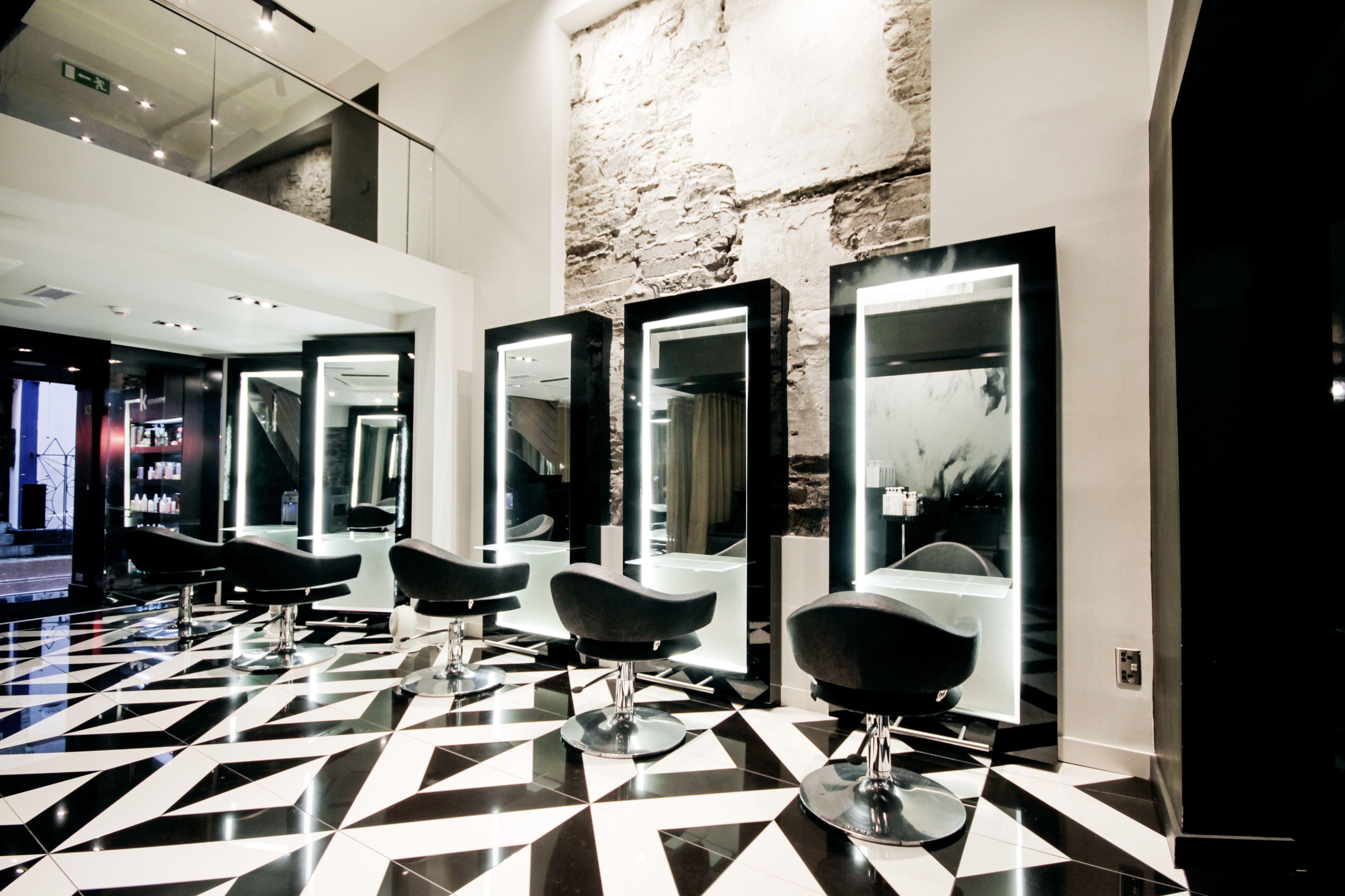 High end boutique hair salon #interiordesign #hairsalon #tilefloor ...